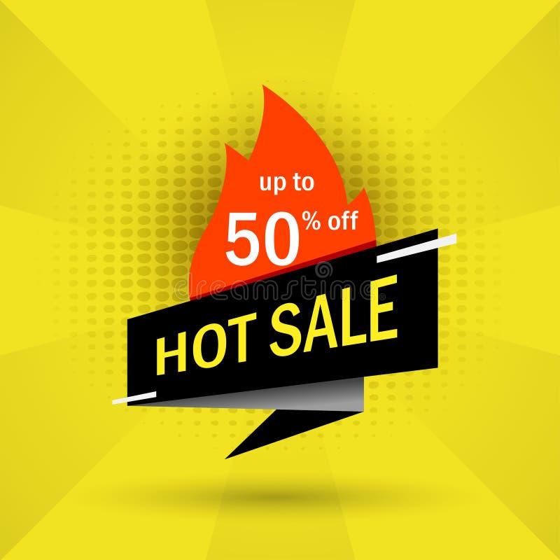 Gorący sprzedaży czerni sztandar do 50% daleko na kolorze żółtym, royalty ilustracja