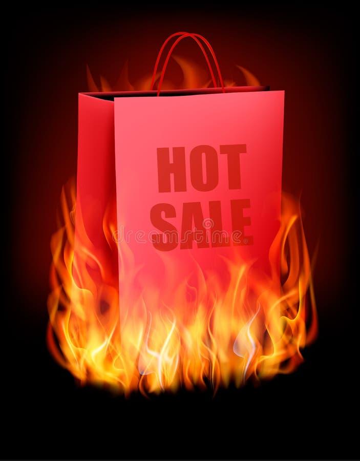 Gorący sprzedaży tło z torba na zakupy i ogieniem ilustracji