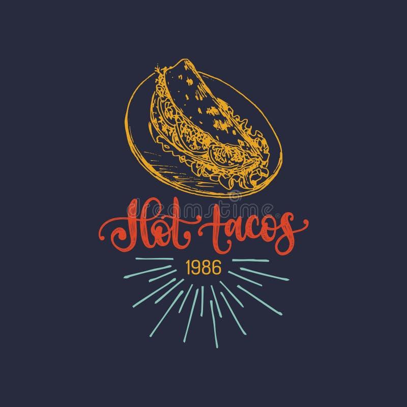 Gorący Tacos, ręki literowanie Wektorowa ilustracja tradycyjny Meksykański jedzenie Używać dla menu, plakat uliczna restauracja royalty ilustracja