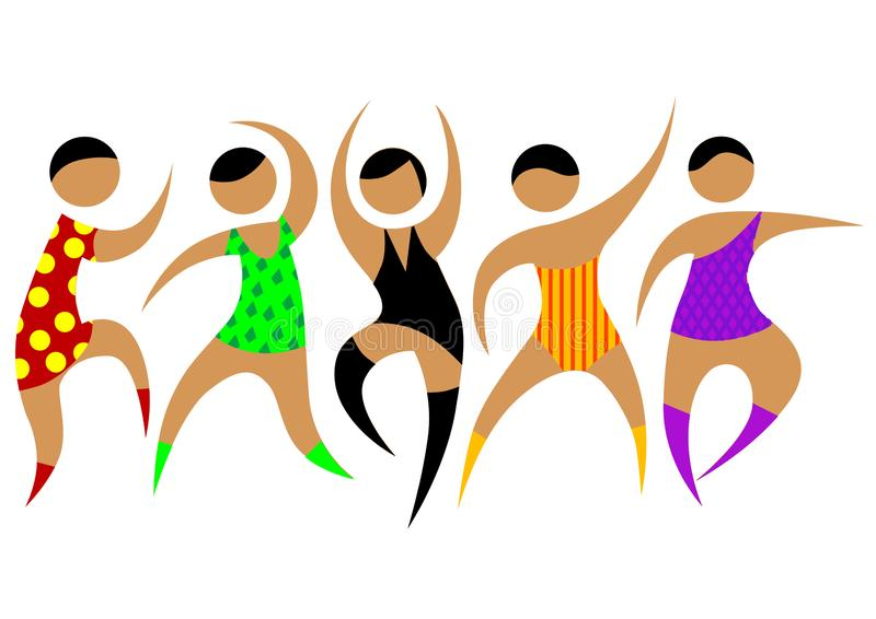 Gorący taniec trzy ilustracja wektor