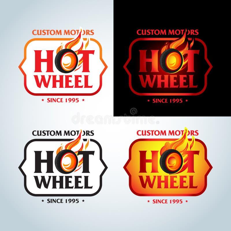 Gorący Toczy wewnątrz Pożarniczego płomienia rocznika loga projekta wektoru szablon Samochodowy logotyp tła czerń zakończenia pro ilustracja wektor