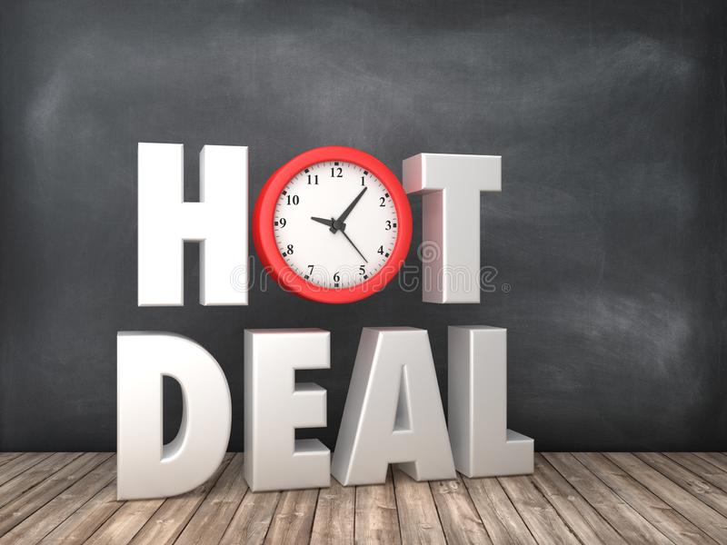 GORĄCY transakcji 3D słowo z zegarem na Chalkboard tle royalty ilustracja