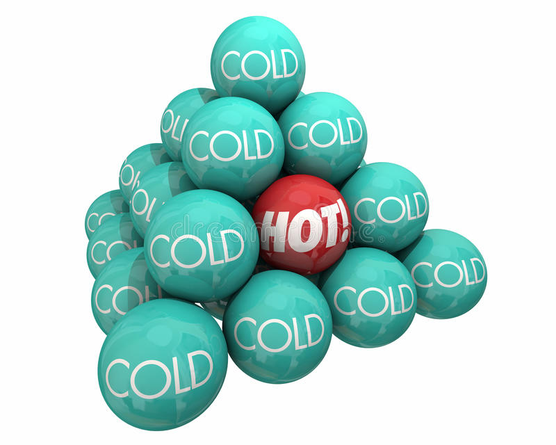Gorący Vs Zimnego piłka ostrosłupa upału Chłodno temperatura royalty ilustracja