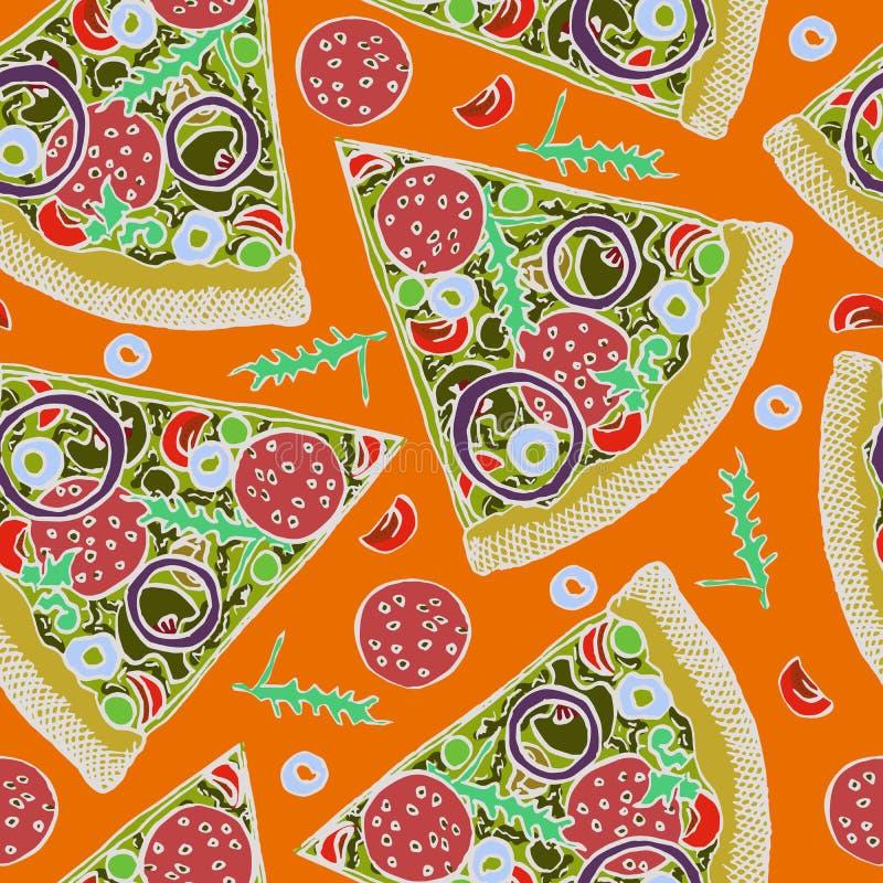 Gorący Włoski pizza plasterek z salami, rucola, pomidorami, cebulą, oliwkami i serem, ilustracja wektor