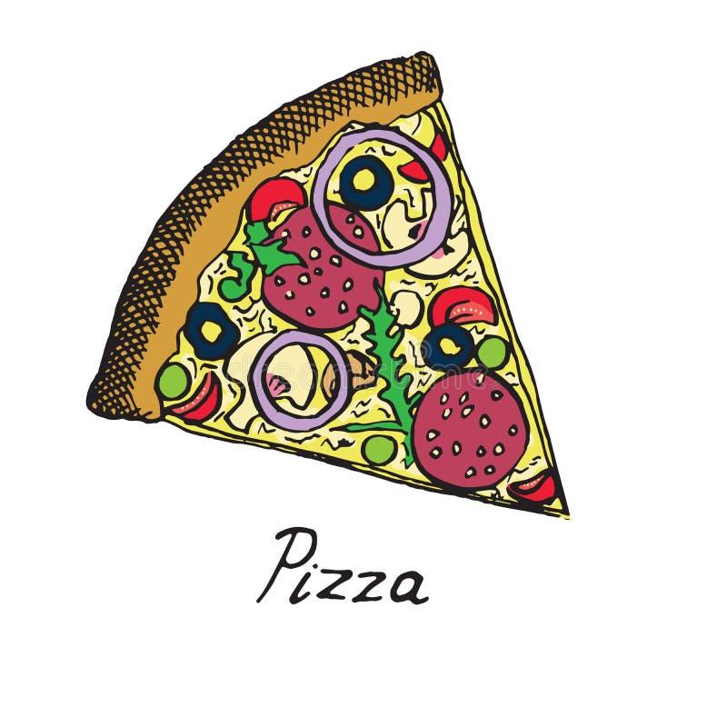 Gorący Włoski pizza plasterek z salami, rucola, pomidorami, cebulą, oliwkami i serem, royalty ilustracja