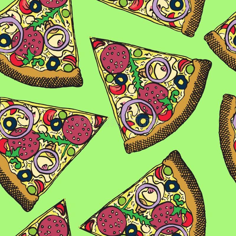 Gorący Włoski pizza plasterek z salami, rucola, pomidorami, cebulą, oliwkami i serem, ręka rysujący doodle, nakreślenie w wystrza ilustracji