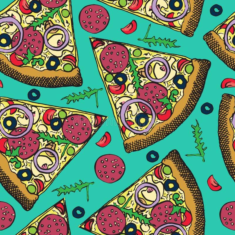 Gorący Włoski pizza plasterek z salami, rucola, pomidorami, cebulą, oliwkami i serem, ręka rysujący doodle, nakreślenie w wystrza ilustracja wektor