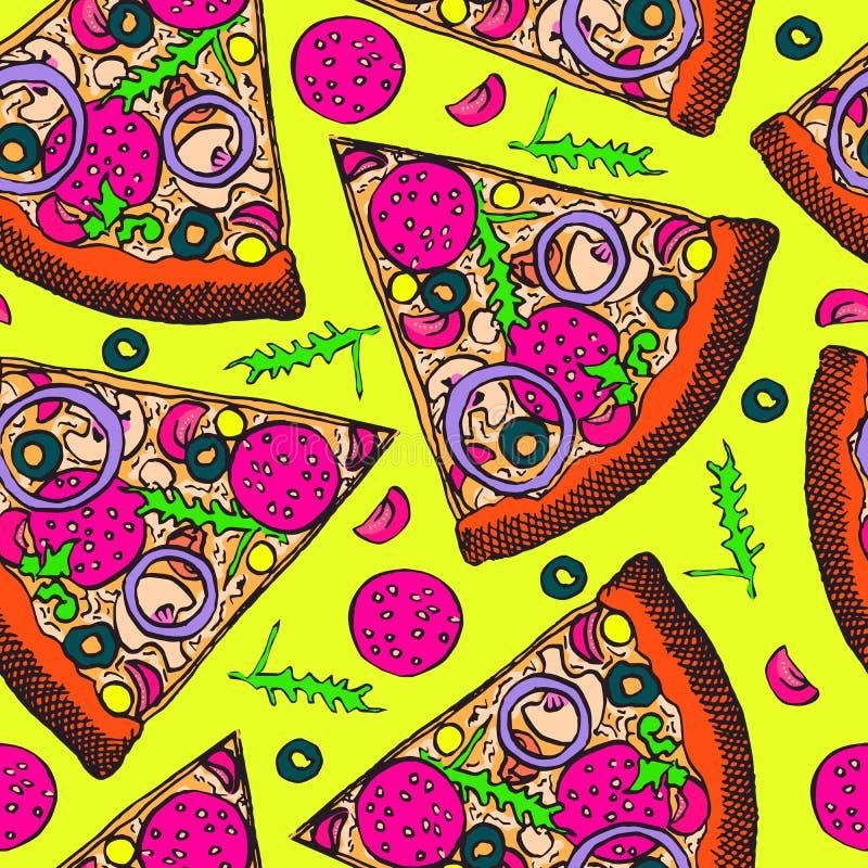 Gorący Włoski pizza plasterek z salami, rucola, pomidorami, cebulą, oliwkami i serem, ręka rysujący doodle, nakreślenie w wystrza royalty ilustracja