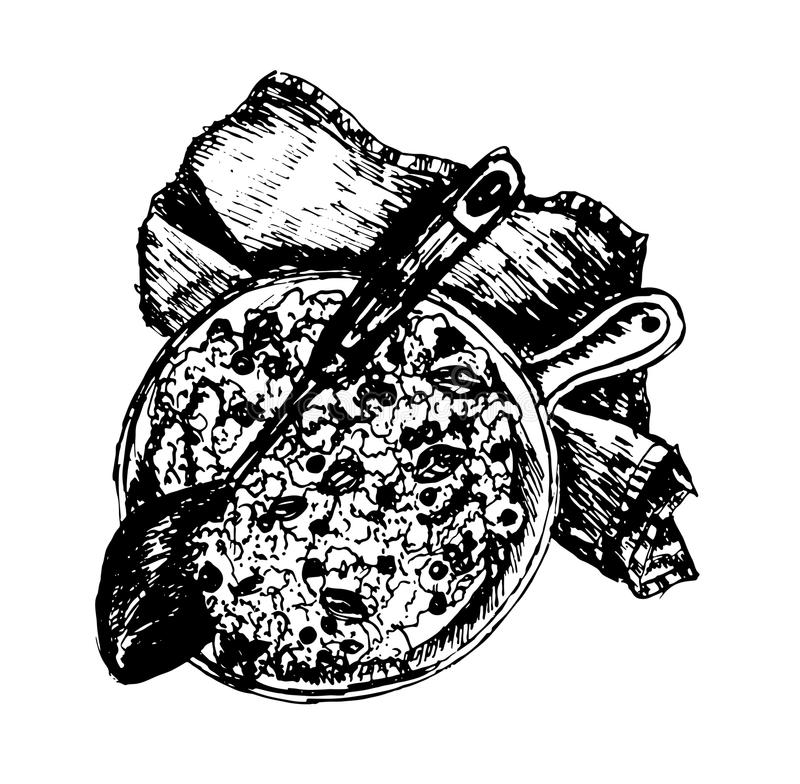 Gorący wyśmienicie paella z ryż i mięso w smaży niecce na stole dekorującym z sukiennym nakreśleniem wręczamy patroszonego atrame royalty ilustracja