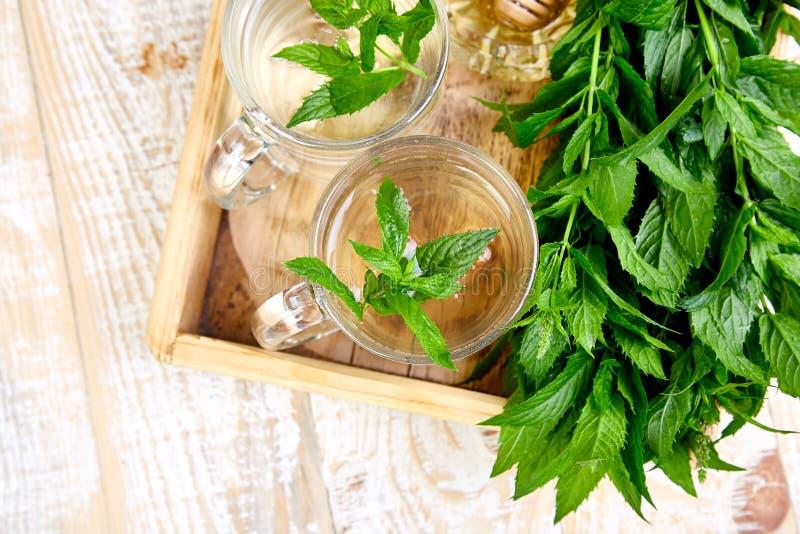 Gorący ziołowy nowy herbaciany napój w szklanym kubku zdjęcia stock