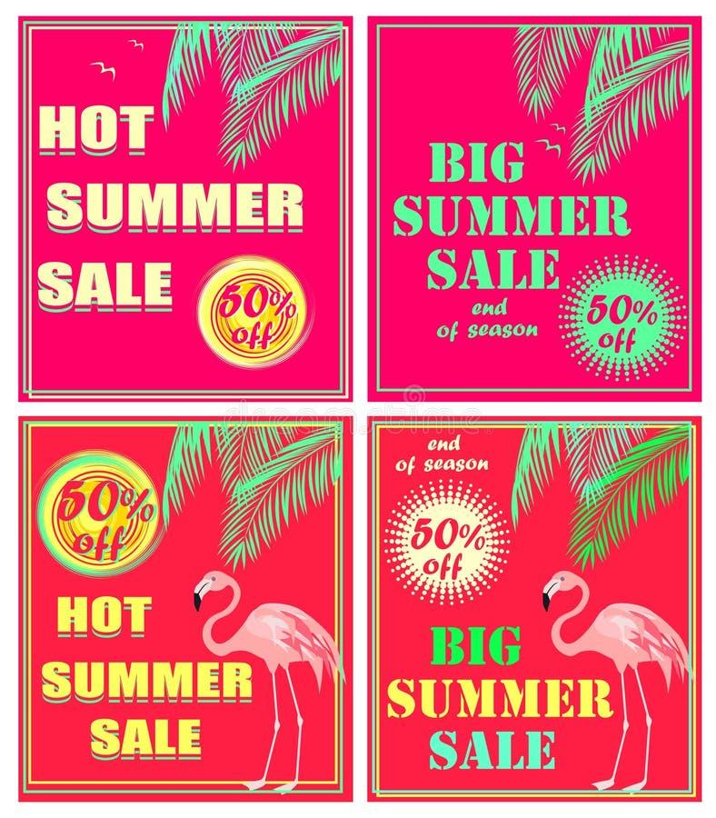 Gor?cych menchii neonowe ulotki z nowego koloru palmowymi li??mi, lato sprzeda?y literowanie i flaming, du?ym i gor?cym Art Deco  ilustracja wektor