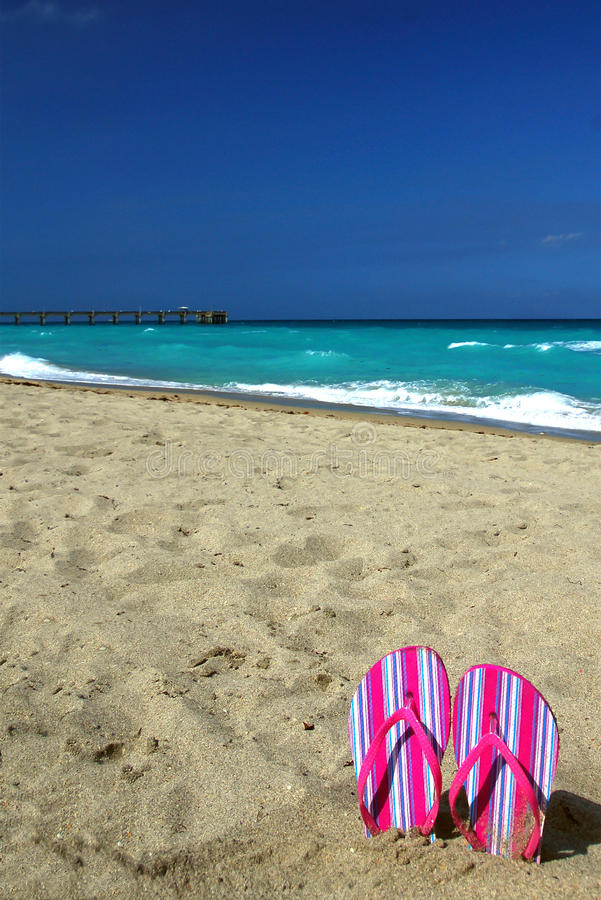 Gorących menchii trzepnięcia klapy na plaży zdjęcia royalty free