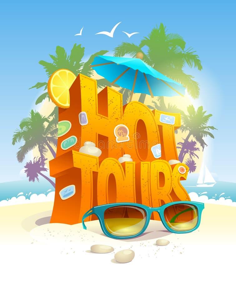Gorących wycieczek turysycznych wektorowy plakat, 3d tekst przeciw tropikalnej plaży i palmy, ilustracja wektor