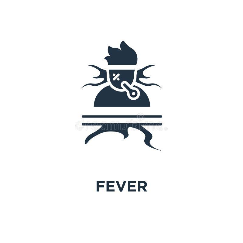 Gorączkowa ikona wysokotemperaturowy termometr, czuciowa bolączka, gorąca głowa, immunitetowy oporu pojęcia symbolu projekt, chor ilustracji