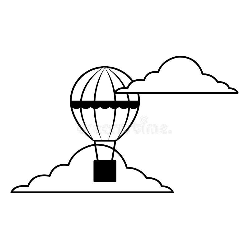 Gor?ce powietrze balonu koszykowy latanie w niebie royalty ilustracja