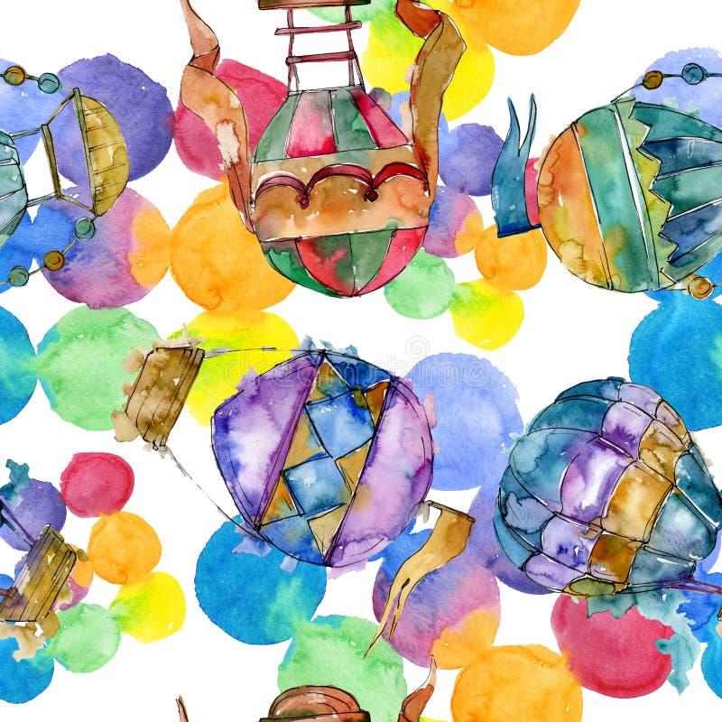 Gor?ce powietrze balonu t?a komarnicy transport powietrzny t?a bazy projekta ustalona akwarela Bezszwowy t?o wz?r ilustracja wektor