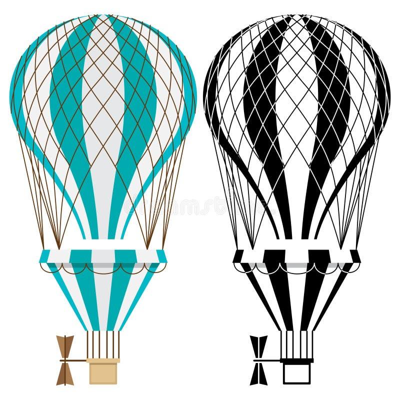 gor?ce powietrze balony Kolorowy i czarny i bia?y aerostata wektor odizolowywaj?cy na bia?ym tle ilustracja wektor