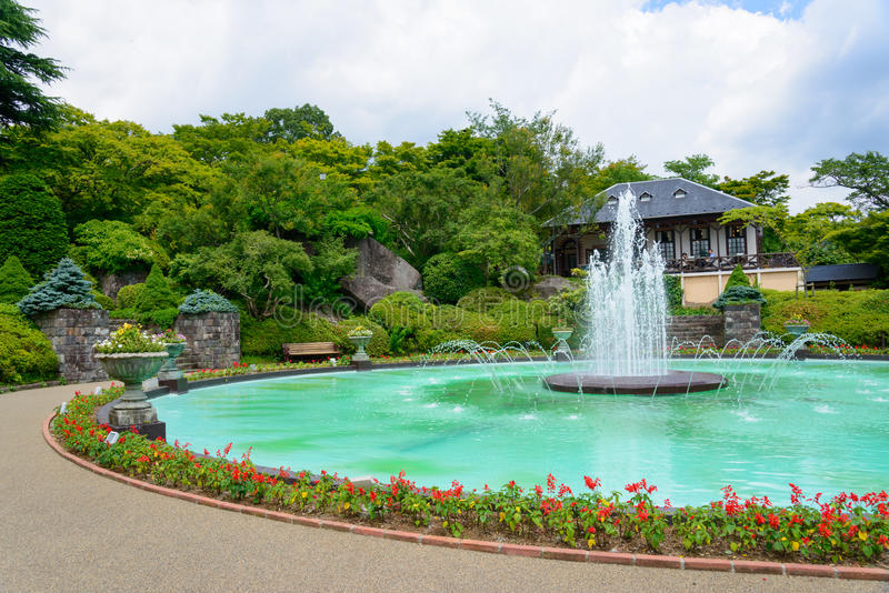 Gora公园喷泉在箱根,神奈川,日本 免版税库存照片