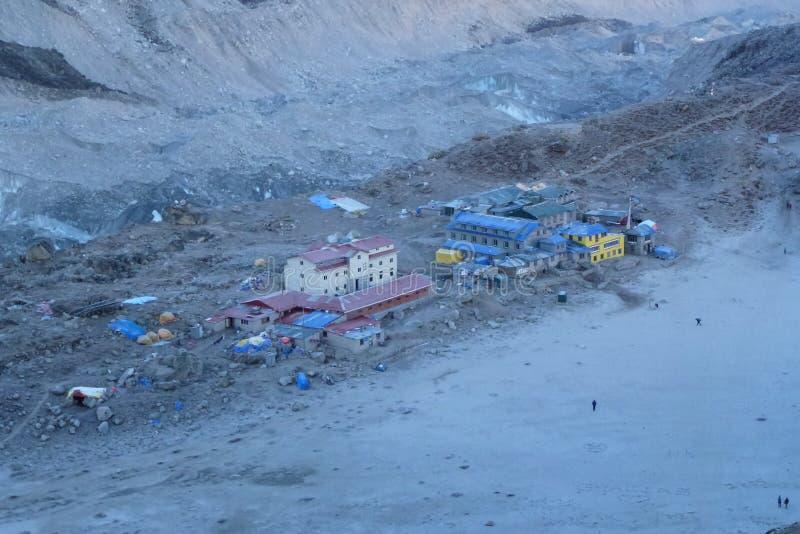 Gorak Shep à l'aube de Kala Patthar, Gorak Shep, voyage de camp de base d'Everest, Népal images libres de droits