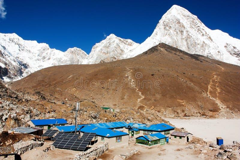 Gorak Shep and Pumo Ri. Gorak Shep village and Kala Patthar view point on Everest, Pumo Ri and Nuptse - Nepal stock photography