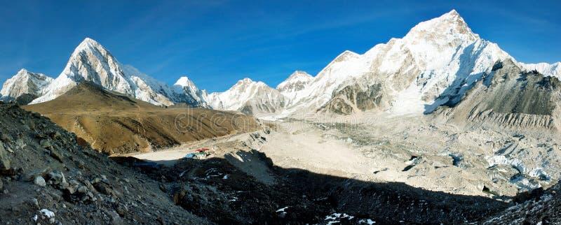 Gorak Shep village and Kala Patthar. View point on Everest, Pumo Ri and Nuptse - Nepal royalty free stock photos