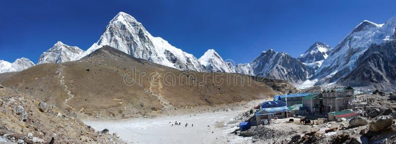 Gorak Shep village and Kala Patthar , Nepal. GORAK SHEP, NEPAL-MARCH 16: Gorak Shep village and Kala Patthar and Mt. Pumori (Pumo Ri). Everest region, Nepal on royalty free stock images
