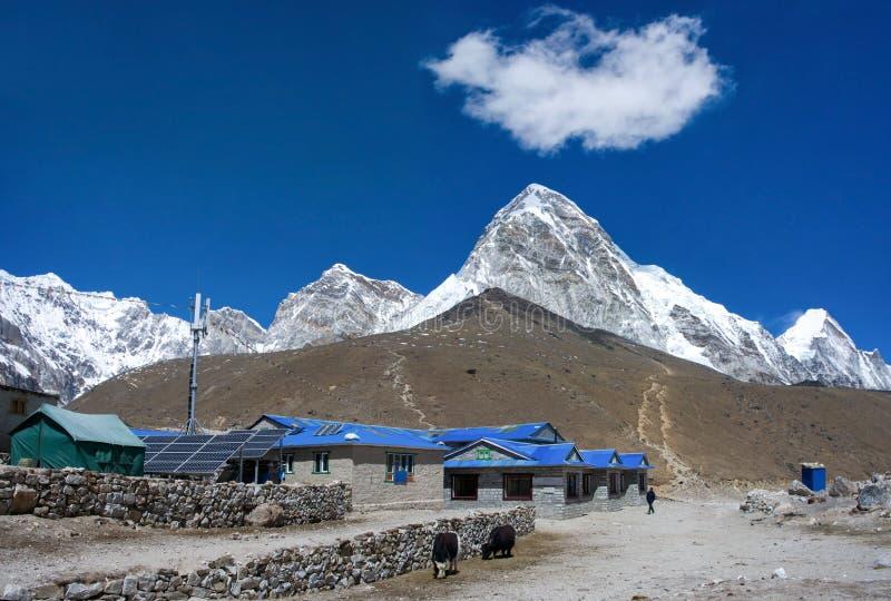 Gorak Shep village and Kala Patthar , Nepal. Gorak Shep village and Kala Patthar and Mt. Pumori (Pumo Ri). Everest region, Nepal stock images