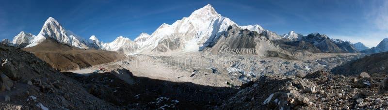 Gorak Shep village, Pumo Ri, Nuptse and Kala Patthar. View point on the way to Everest base camp - Nepal royalty free stock image