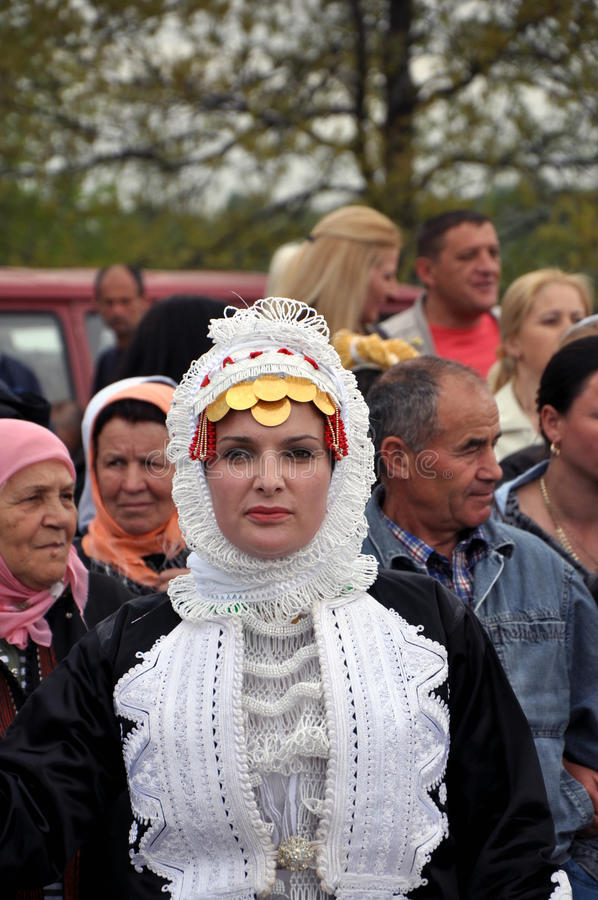 Gorani woman costume. Certainly one of the most beautiful traditional costumes in the Balkans. Throughout the centuries is itself changed to the most radical stock photo