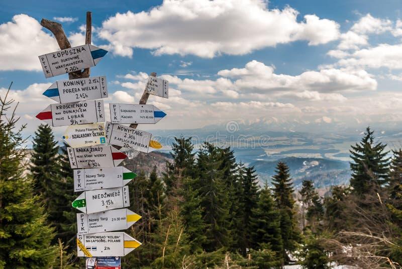 Gorce Mountains signpost in spring - Tatry mountains view from Turbacz, Gorce Mountains, Malopolska, Poland royalty free stock image