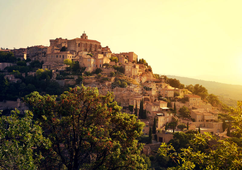 Gordes medieval village at sunrise in Provence royalty free stock photography