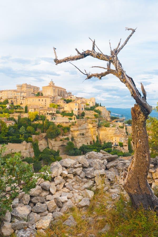 Download Gordes Provence Stone Village Tree Framed Stock Photo - Image: 25562094