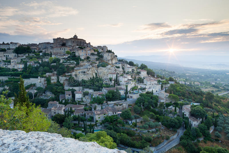 Gordes during sunrise stock photos