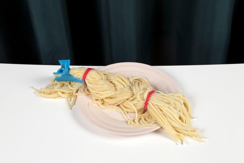 Gordijn en spaghettivlecht stock foto