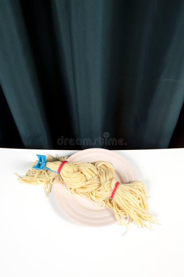 Gordijn en spaghettivlecht stock afbeelding