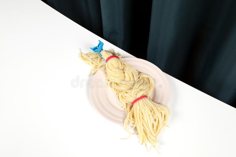 Gordijn en spaghettivlecht stock fotografie