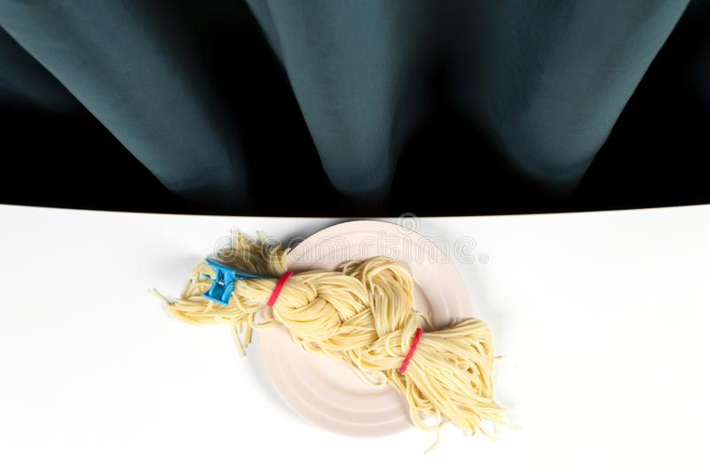 Gordijn en spaghettivlecht royalty-vrije stock afbeelding