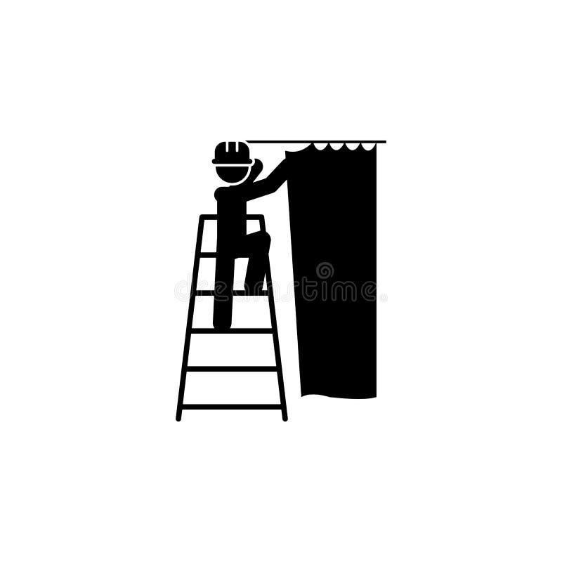 gordijn, hangend arbeiderspictogram Element van bouwvakker voor mobiel concept en Web apps Het gedetailleerde gordijn, hangend pi royalty-vrije illustratie