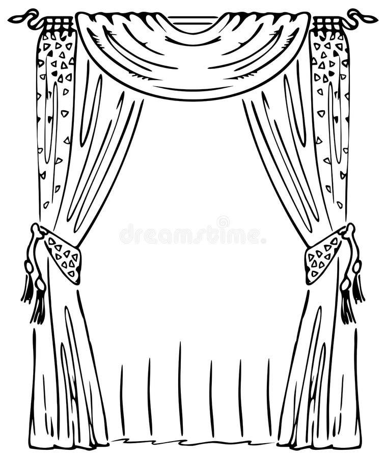 Gordijn op een Venster stock illustratie