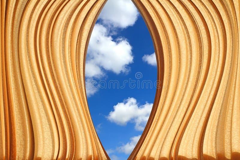 gordijn op rand van een venster royalty-vrije stock foto