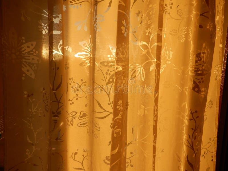 Gordijn in zonlicht royalty-vrije stock afbeeldingen