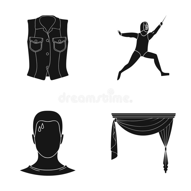 Gordijnen, kroonlijsten, textiel en ander Webpictogram in zwarte stijl moeheid, dalingen, voorhoofd, pictogrammen in vastgestelde royalty-vrije illustratie