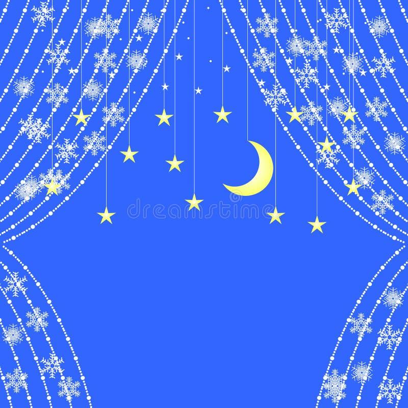 Gordijnen van slingers met sneeuwvlokken op de achtergrond van sterren vector illustratie