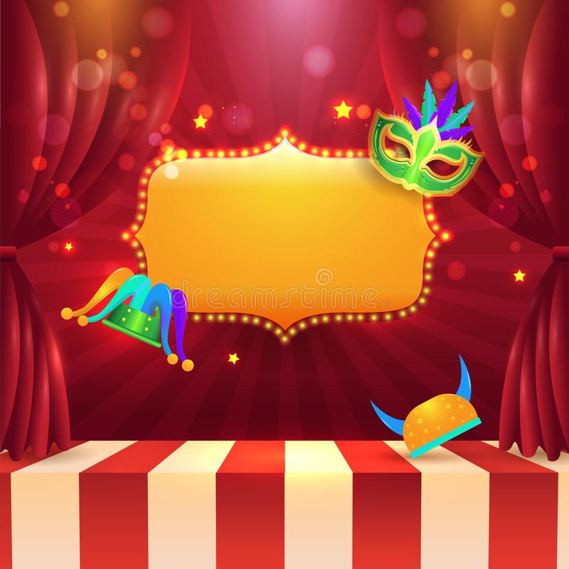 Gordijnstadium met markttent licht kader en andere partij vector illustratie