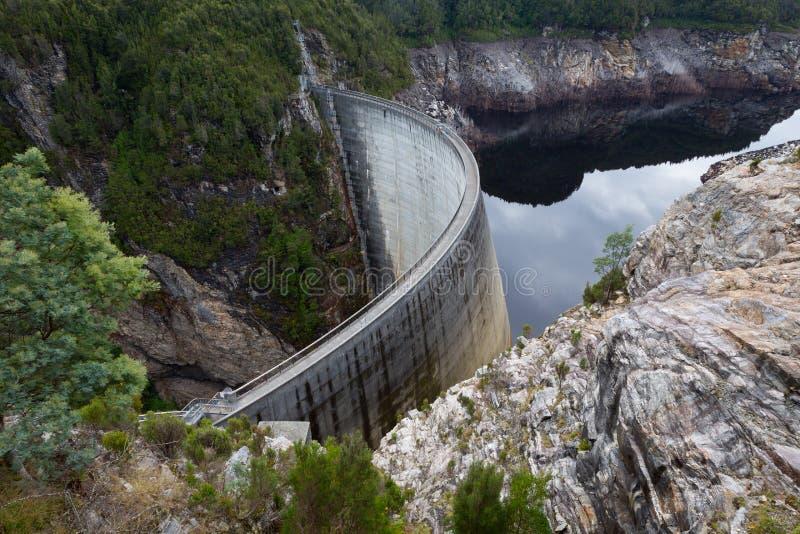 Gordon Dam i Tasmanien, Australien royaltyfri bild