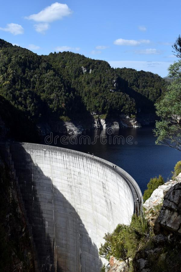 Gordon Dam, Strathgordon, Tasmanige, Australië stock afbeelding