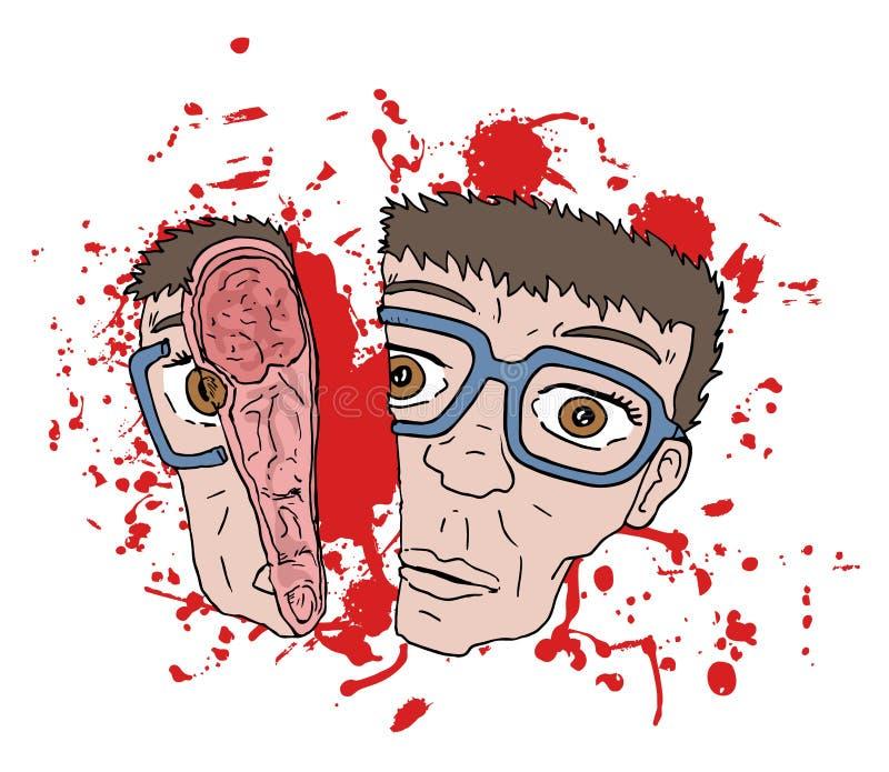 Gore gezichtsscène stock illustratie