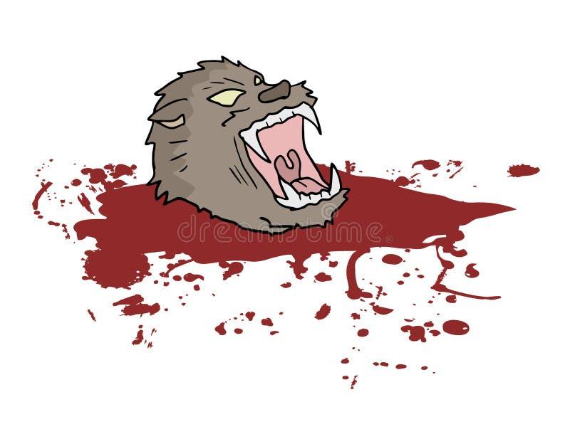 Gore wild wolfshoofd royalty-vrije illustratie