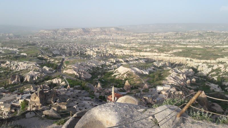 Goreme Üçhisar kasztelu krajobraz obrazy royalty free