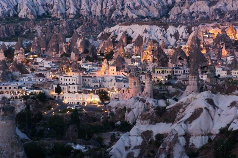 Goreme Dorf in Cappadocia stockfotografie
